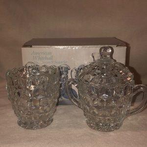 Vintage crystal three-piece cream and sugar set